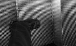 scarpa nera elegante per l'uomo sulle scale mobili Fotografia Stock