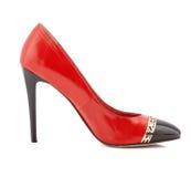 Scarpa rossa della donna dei tacchi alti isolata su bianco Fotografia Stock