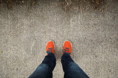 Scarpe arancio Fotografia Stock Libera da Diritti