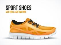 Scarpe arancio correnti Simbolo luminoso delle scarpe da tennis di sport Fotografia Stock