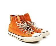 Scarpe arancio d'annata Immagine Stock Libera da Diritti
