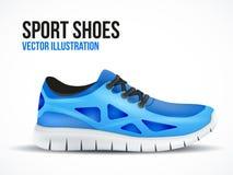 Scarpe blu correnti Simbolo luminoso delle scarpe da tennis di sport Fotografia Stock