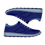 Scarpe blu delle scarpe da tennis della pelle scamosciata di paia Fotografia Stock Libera da Diritti