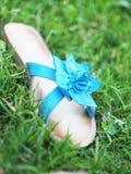 Scarpe blu di estate sull'erba Immagini Stock
