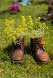 Scarpe con i fiori Immagini Stock