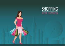 Scarpe d'uso del tacco alto della donna di acquisto e sacchetto della spesa di trasporto Fotografia Stock Libera da Diritti