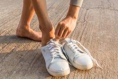 Scarpe d'uso della donna Fotografia Stock Libera da Diritti