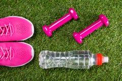 Scarpe da tennis di sport e teste di legno rosa per forma fisica e una bottiglia di acqua contro lo sfondo di erba immagini stock