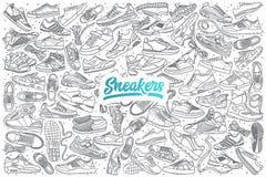 Scarpe da tennis disegnate a mano messe con iscrizione Fotografia Stock