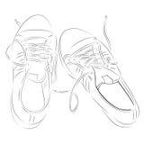 Scarpe da tennis disegnate a mano su fondo bianco Fotografia Stock Libera da Diritti
