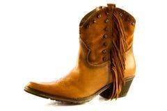 Scarpe del cowboy isolate sugli accessori di un fondo di bianco Fotografia Stock