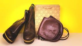 Scarpe del ` s delle donne, borsa su un fondo colorato Fotografia Stock Libera da Diritti