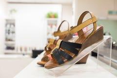 Scarpe del ` s delle donne in un negozio Fotografia Stock Libera da Diritti