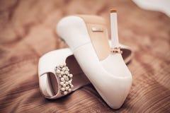 Scarpe della damigella d'onore Fotografia Stock