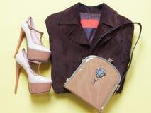 Scarpe della donna con la borsa Fotografia Stock Libera da Diritti
