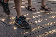 Scarpe della donna e dell'uomo su un testo Immagine Stock
