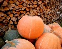 Scarpe della pioggia della zucca di autunno e di legno rossi con il fondo dei leavs Immagini Stock Libere da Diritti