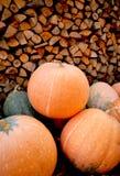 Scarpe della pioggia della zucca di autunno e di legno rossi con il fondo dei leavs Immagini Stock