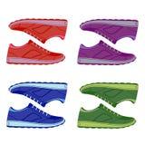 Scarpe delle scarpe da tennis della pelle scamosciata colorate paia Immagini Stock Libere da Diritti