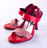 scarpe di colore rosso della donna o della scarpa su fondo Immagine Stock