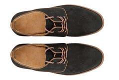 Scarpe di cuoio classiche degli uomini isolate su bianco Fotografia Stock