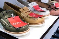 Scarpe di cuoio del mocassino sulla vendita Immagine Stock Libera da Diritti