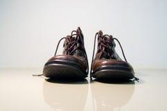 Scarpe di cuoio di Brown vecchie Fotografie Stock