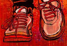 Scarpe di pallacanestro sopra un fondo della città di lerciume Immagine Stock