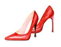 Scarpe di rosso del tacco alto Illustrazione dell'acquerello Fotografia Stock