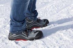 Scarpe di sicurezza nelle montagne nevose Immagini Stock Libere da Diritti