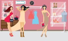 Scarpe di stile di vita di bellezza del modello del boutique di modo di acquisto della donna delle ragazze Fotografia Stock