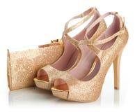 Scarpe e borsa dell'oro delle signore Immagine Stock Libera da Diritti