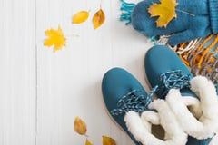 Scarpe e guanti blu di inverno su fondo di legno bianco Fotografie Stock Libere da Diritti