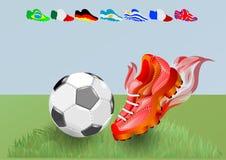 Scarpe e palla di calcio illustrazione vettoriale