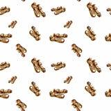 Scarpe eleganti del ` s della donna dell'acquerello Reticolo senza giunte Immagine Stock Libera da Diritti