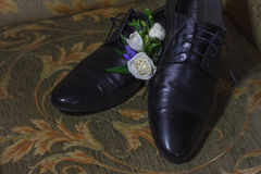 Scarpe maschii di nozze Immagini Stock Libere da Diritti