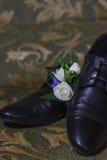 Scarpe maschii di nozze Fotografia Stock Libera da Diritti