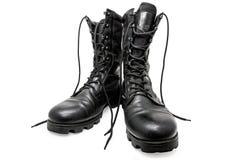 Scarpe nere dell'esercito Fotografie Stock Libere da Diritti