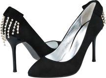 Scarpe nere delle donne del tacco alto isolate su bianco Immagine Stock