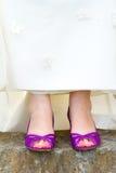 Scarpe porpora di nozze Immagine Stock