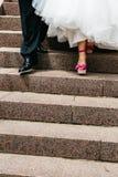 Scarpe rosa di nozze Fotografia Stock Libera da Diritti