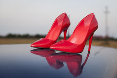 Scarpe rosse Fotografia Stock