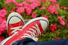 Scarpe rosse con un fondo dei fiori Fotografie Stock Libere da Diritti