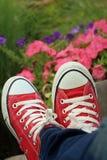Scarpe rosse con un fondo dei fiori Fotografia Stock