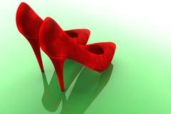 Scarpe rosse del velluto Fotografie Stock
