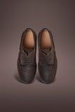 Scarpe scure della pelle scamosciata degli uomini Fotografie Stock Libere da Diritti
