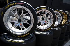 Scarperia Florence, Italy - March 2018 : tires and alloy wheels for Ferrari racing cars in the paddock of Mugello stock photo