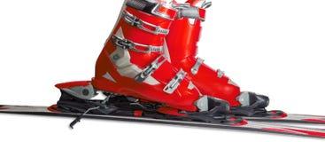 Scarponi da sci alpini in primo piano obbligatorio dello sci Immagine Stock Libera da Diritti