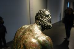 Boxer face detail, ancient Roman bronze statue Royalty Free Stock Image