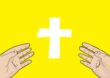 Scarred Hands and Cross Stock Photography